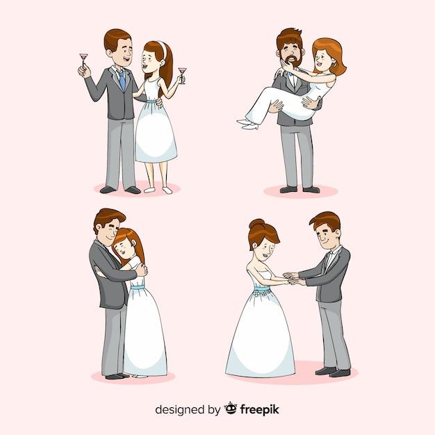 Collection de jeunes mariés Vecteur gratuit