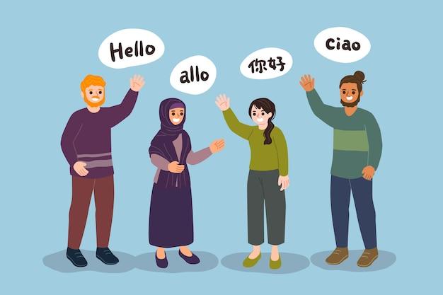 Collection De Jeunes Parlant Dans Différentes Langues Vecteur gratuit