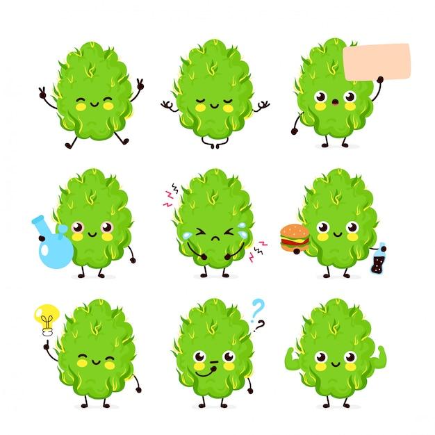 Collection de jeux de bourgeons de marijuana joyeux, souriants, joyeux et heureux. Vecteur Premium