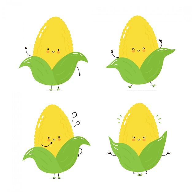 Collection de jeux de caractères de maïs heureux mignon. isolé sur blanc conception de dessin vectoriel personnage illustration, style plat simple. promenade, entrainement, réflexion, méditation Vecteur Premium