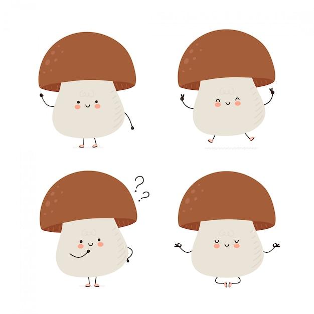 Collection de jeux de caractères mignon champignon heureux. isolé sur blanc conception de dessin vectoriel personnage illustration, style plat simple. mashroom marcher, former, penser, méditer le concept Vecteur Premium