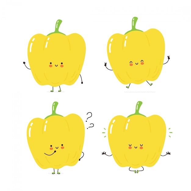 Collection de jeux de caractères mignon joyeux poivron. isolé sur blanc conception de dessin vectoriel personnage illustration, style plat simple. poivron marcher, former, penser, méditer concept Vecteur Premium