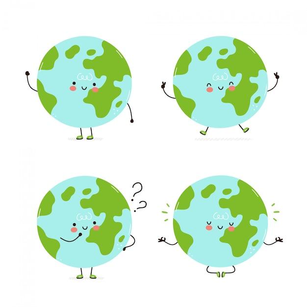 Collection de jeux de caractères mignon terre heureuse planète. isolé sur blanc conception de dessin vectoriel personnage illustration, style plat simple. terre marcher, former, penser, méditer le concept Vecteur Premium