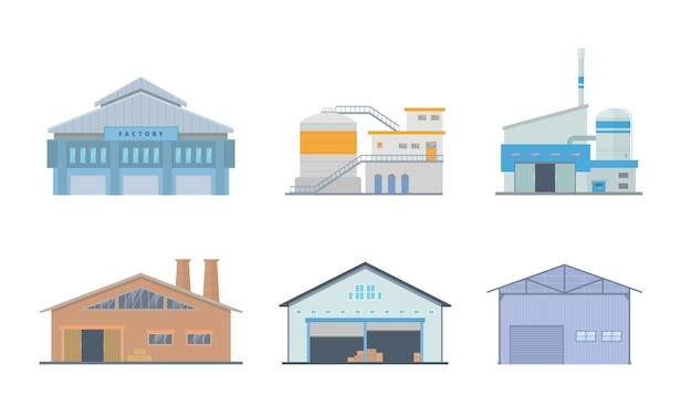 Collection de jeux de construction d'usine avec différents types et modèles avec un style plat moderne Vecteur Premium