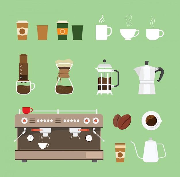Collection de jeux d'équipement pour machines à café Vecteur Premium