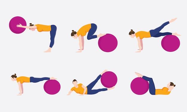 Collection de jeux de mouvement femme ballon d'exercice Vecteur Premium