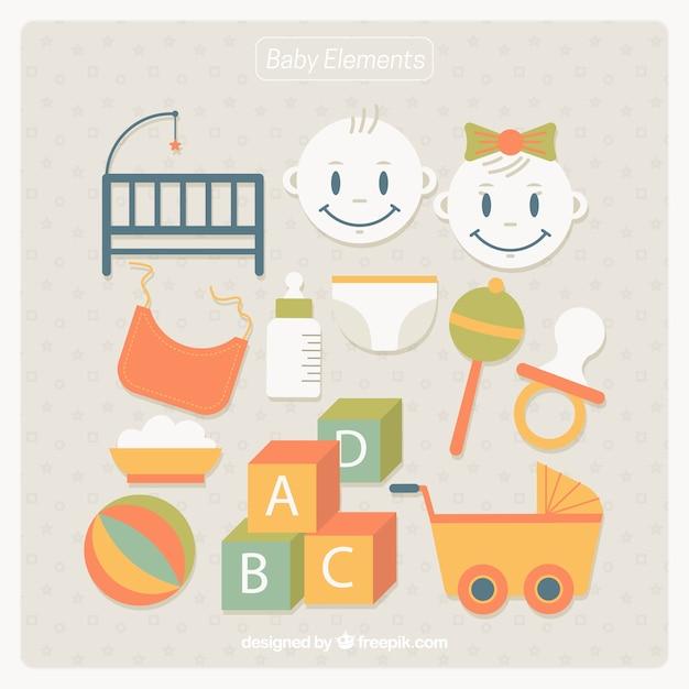Collection de jouets et articles pour bébés en design plat Vecteur gratuit