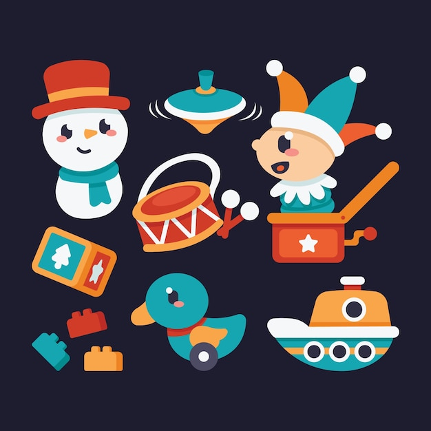 Collection de jouets de noël design plat Vecteur gratuit