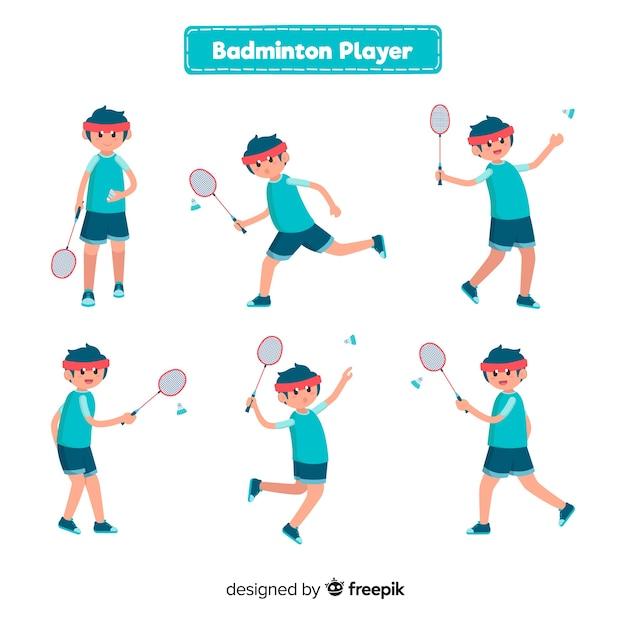 Collection de joueurs de badminton Vecteur gratuit