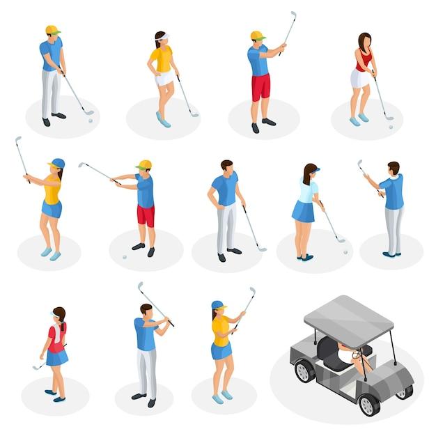 Collection De Joueurs De Golf Isométrique Avec Chariot Et Golfeurs Tenant Des Clubs Dans Différentes Poses Isolées Vecteur gratuit