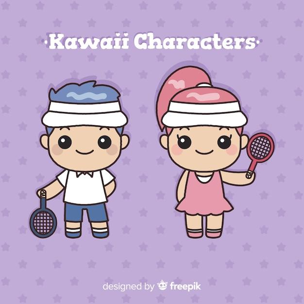 Collection de joueurs de tennis kawaii dessinée à la main Vecteur gratuit