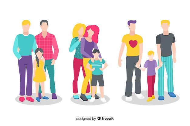 Collection de jour de fierté de couple et de famille Vecteur gratuit