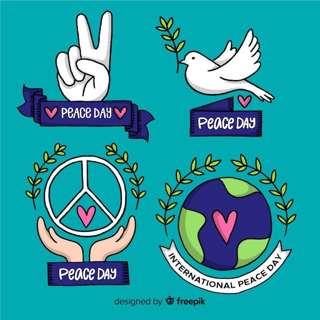 Collection de jour de la paix dessiné à la main Vecteur gratuit