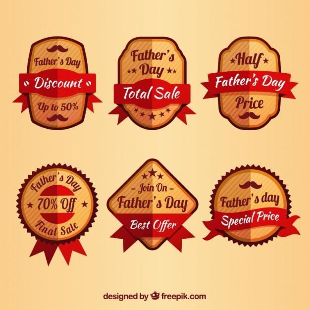 Collection De La Journée Vente Badge De Plat Père Vecteur gratuit