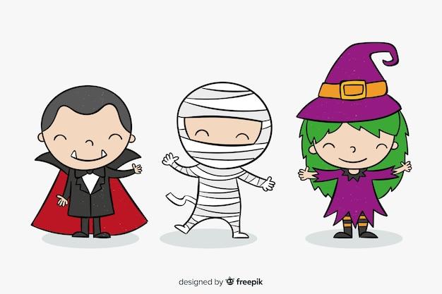 Collection de kid halloween dessinés à la main Vecteur gratuit
