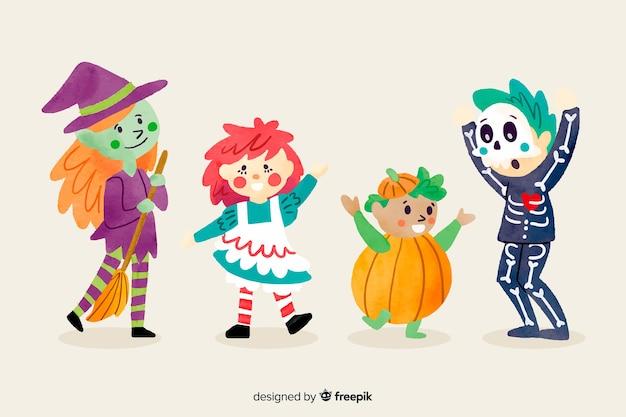 Collection de kid halloween style aquarelle Vecteur gratuit