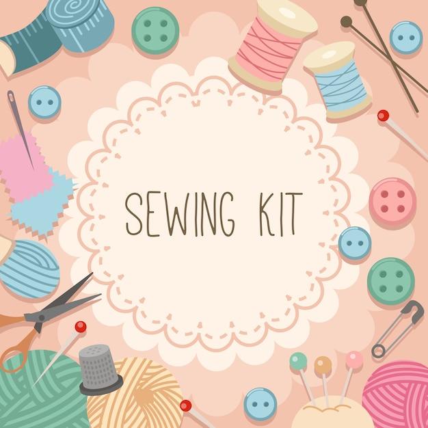 La collection de kit de couture sur fond rose. Vecteur Premium