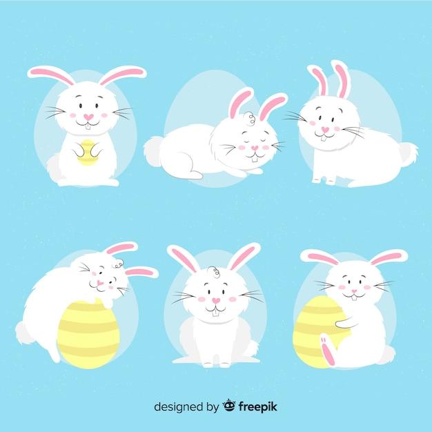 Collection de lapin de pâques plat Vecteur gratuit