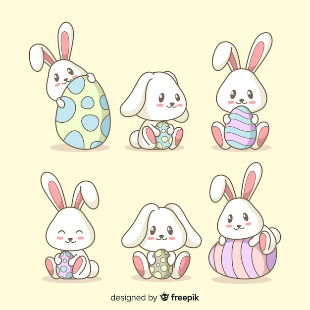 Collection de lapin de pâques Vecteur gratuit