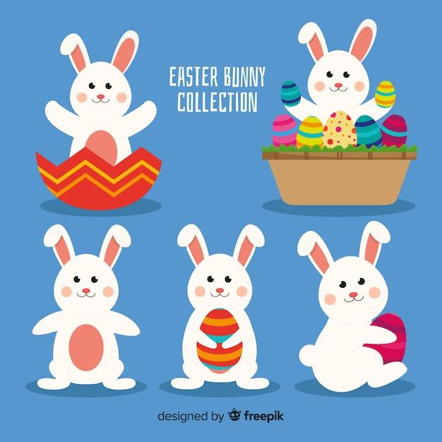 Collection de lapins de pâques plats Vecteur gratuit
