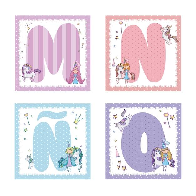 Collection De Lettres De L'alphabet Pour Les Enfants Vecteur Premium