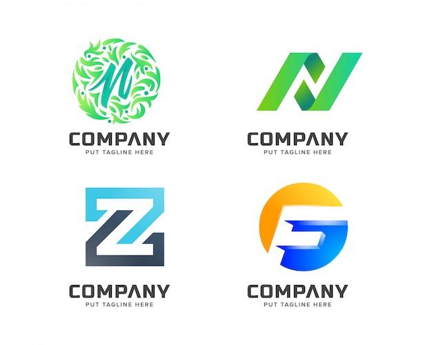 Collection de lettres, logo abstrait pour entreprise Vecteur Premium