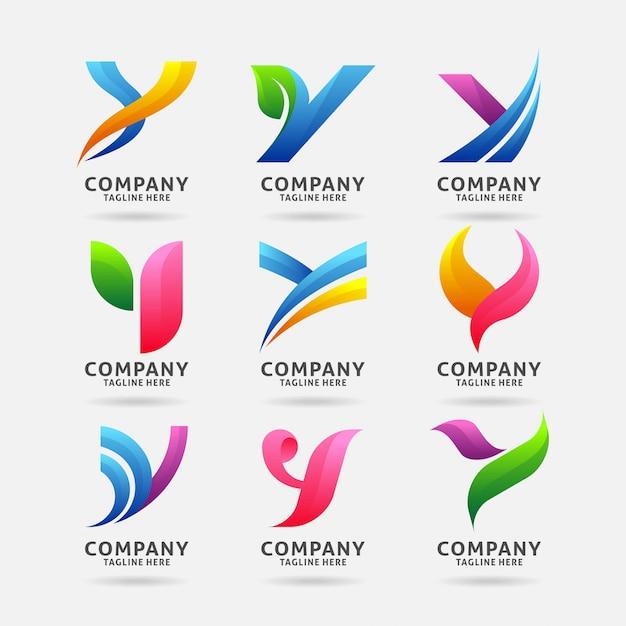 Collection de lettres avec logo moderne Vecteur Premium