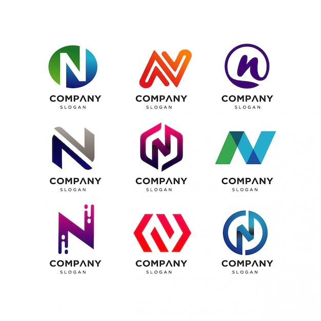 Collection de lettres avec logo n Vecteur Premium