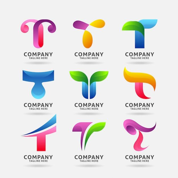 Collection de lettres modernes avec logo t Vecteur Premium