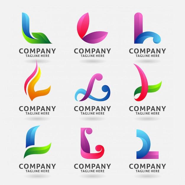 Collection de lettres modernes avec logo l Vecteur Premium