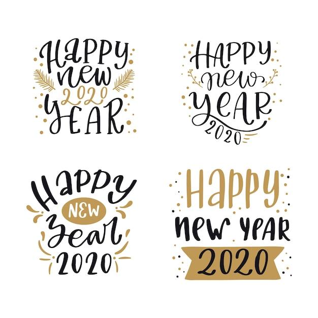 Collection de lettres pour le nouvel an 2020 Vecteur gratuit