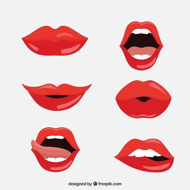 Collection De Lèvres Rouges Avec Un Design Plat Vecteur Premium