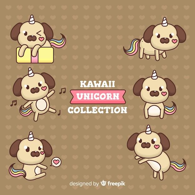 Collection de licornes kawaii dessinées à la main Vecteur gratuit