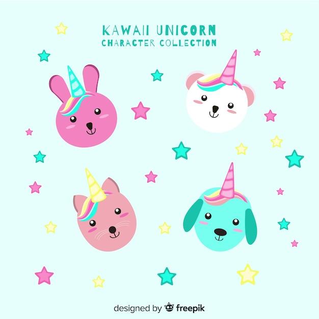 Collection de licornes kawaii Vecteur gratuit