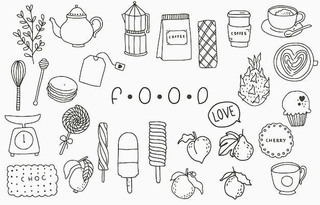 Collection De Ligne De Nourriture Noire Avec Pot, Pêche, Fruits, Crème Glacée, Café, Thé.illustration Vectorielle Pour Icône, Logo, Autocollant, Imprimable Et Tatouage Vecteur Premium