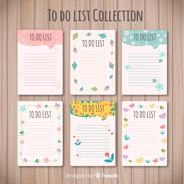 Collection de liste moderne à faire avec un style charmant Vecteur gratuit