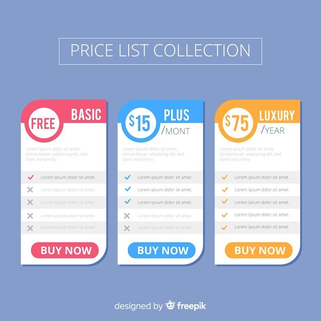 Collection de liste de prix Vecteur gratuit