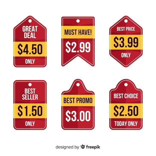 Collection de listes de prix d'étiquettes plates Vecteur gratuit