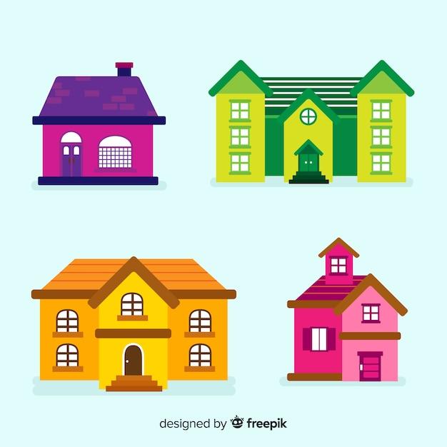 Collection de logements colorés avec style de bande dessinée Vecteur gratuit