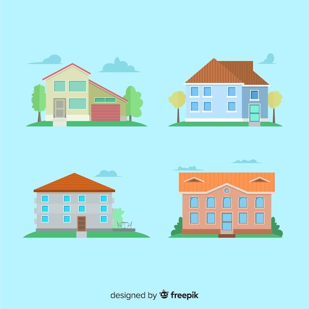 Collection de logements dans un style plat Vecteur gratuit