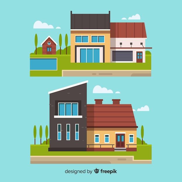 Collection de logements design plat Vecteur gratuit