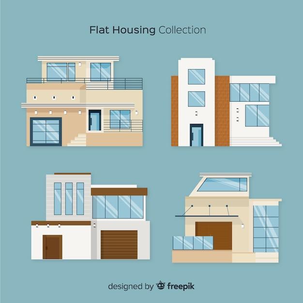 Collection de logements plats Vecteur gratuit
