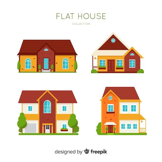 Collection de logements résidentiels en style plat Vecteur gratuit