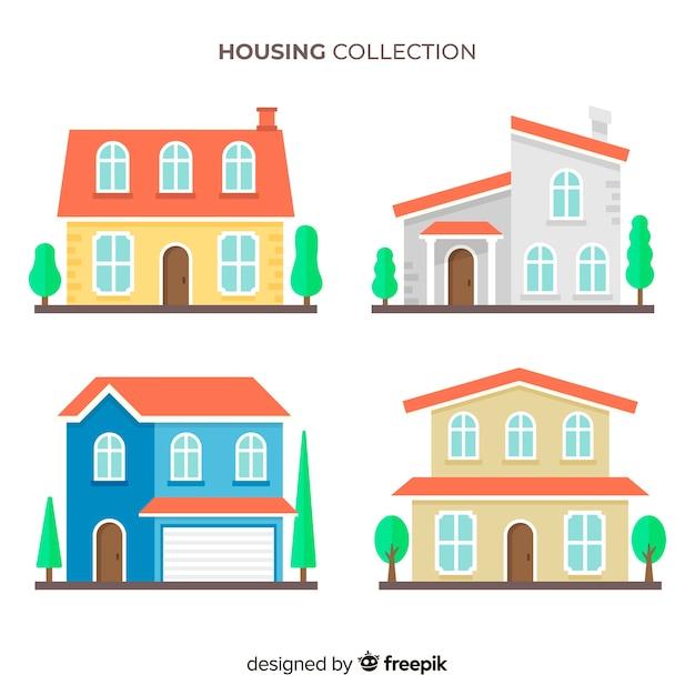 Collection de logements de style plat Vecteur gratuit