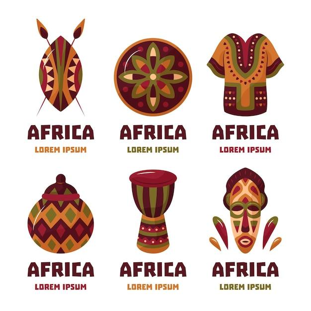Collection De Logo Afrique Vecteur gratuit