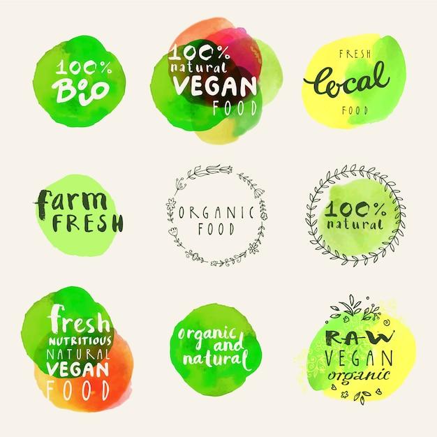 Collection De Logo Alimentaire Biologique Vecteur gratuit