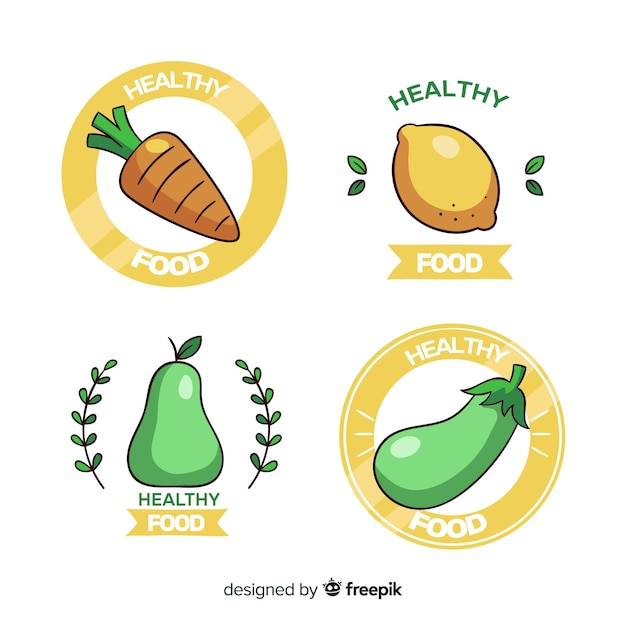 Collection de logo d'aliments sains Vecteur gratuit