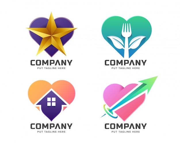 Collection de logo d'amour coloré créatif Vecteur Premium