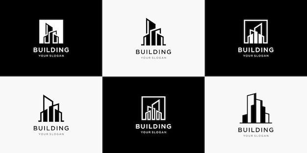 Collection De Logo D'architecture De Bâtiment Vecteur Premium