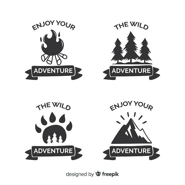 Collection de logo d'aventure dessiné main incolore Vecteur gratuit